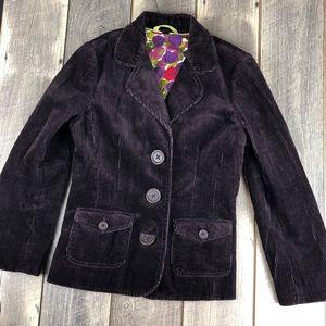 Boden Purple Corduroy Blazer with Pockets Size 8